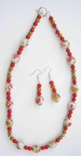 Red and Gold Speckled Necklace & Earrings Kit